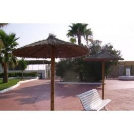 Sombrilla de brezo y fibra natural para piscinas, jardin