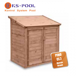 Caseta contenedor depuración de superficie en madera para piscinas