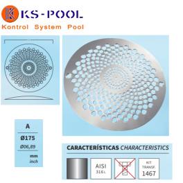 Recambio rejilla circular acero inox. para sumidero piscina