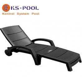 Tumbona plegable con ruedas, respaldo abatible para piscinas, jardin