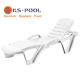 Tumbona apilable, respaldo abatible en 3 posiciones para piscinas, jardin