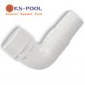 Codo racord conexion para manguera autocortable / precortada de piscina
