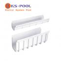 Canaleta blanca para rejilla en desagües, piscinas, vestuarios, duchas
